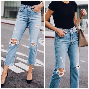 NEW Levi's Wedgie Icon Distressed Ankle Mom Jeans